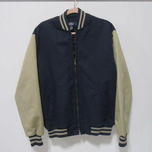 Dickies Varsity Full Zip Blue & Tan Jacket Size L